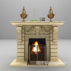 欧式灰色壁炉欣赏3d模型下载