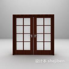 现代玻璃木门3d模型下载