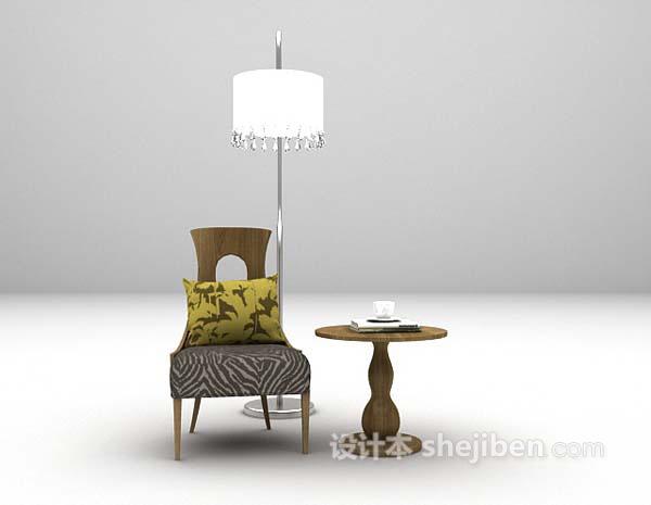茶几椅子组合3d模型下载
