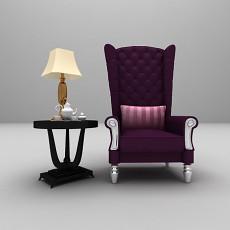 高背沙发3d模型下载
