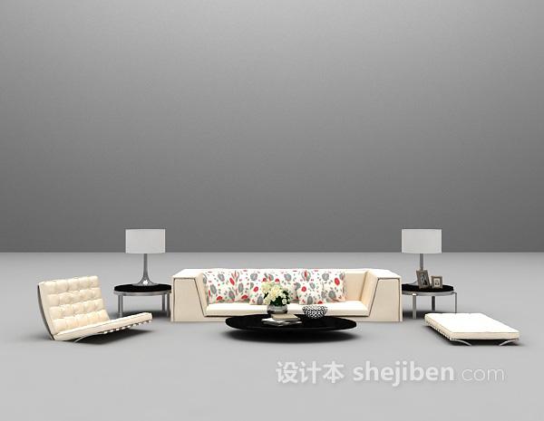 现代沙发场景3d模型下载