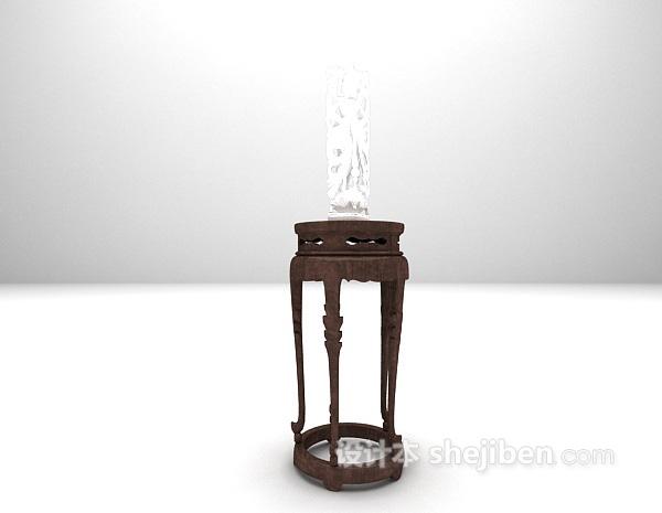 中式花架雕塑架3d模型下载