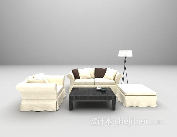 现代白色风格组合沙发3d模型