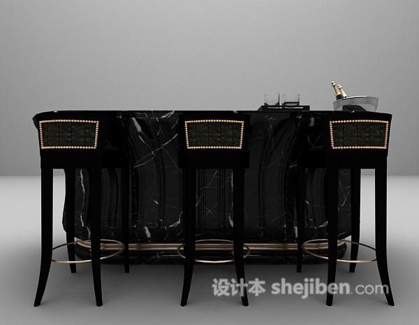 黑色吧台带吧台椅3d模型