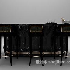 黑色吧台带吧台椅3d模型下载