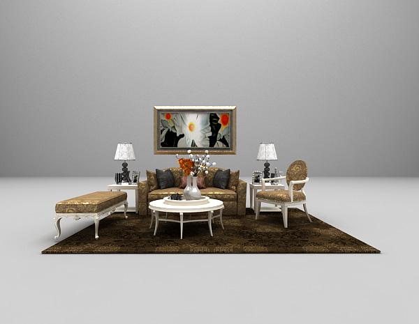 欧式豪华组合沙发3d模型下载