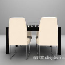 现代四人餐桌3d模型下载