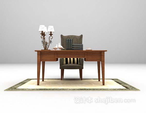 现代书桌3d模型下载