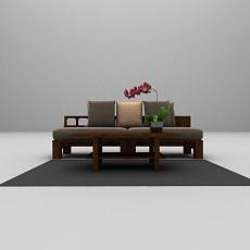 木质三人沙发3d模型下载