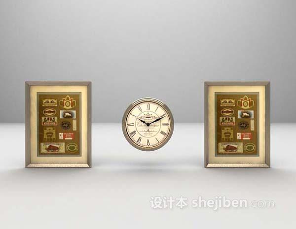 钟表墙饰3d模型下载