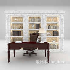 欧式大理石书柜3d模型下载