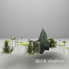 假山植物装饰3d模型下载