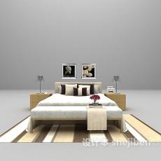 木质家庭床3d模型下载