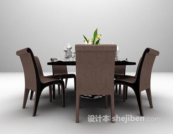 黑色圆形餐桌模型下载