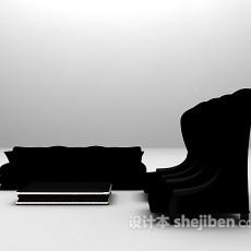 黑色高背椅沙发组合3d模型下载