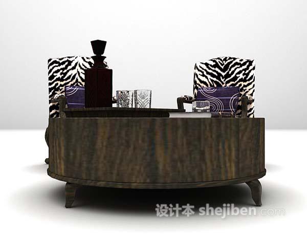 欧式黑色桌椅3d模型下载