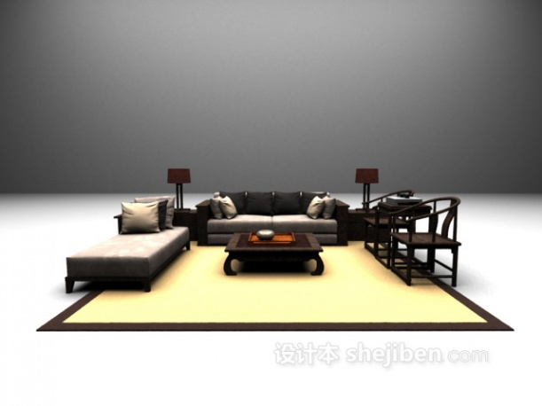 新中式沙发组合模型下载