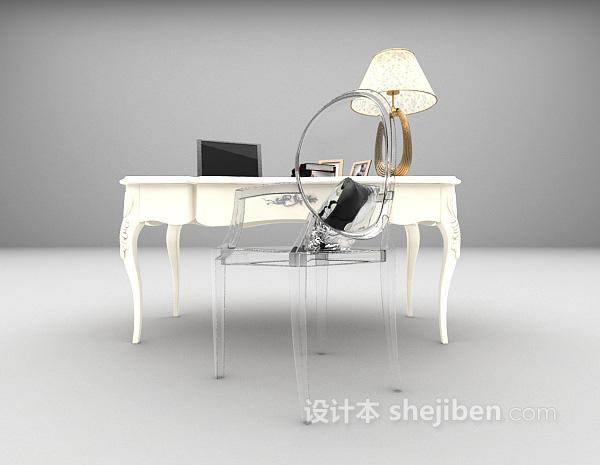 白色欧式书桌3d模型下载