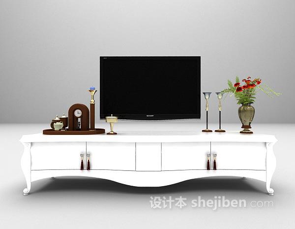 家庭白色电视柜3d模型下载