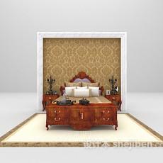 棕色床欣赏3d模型下载