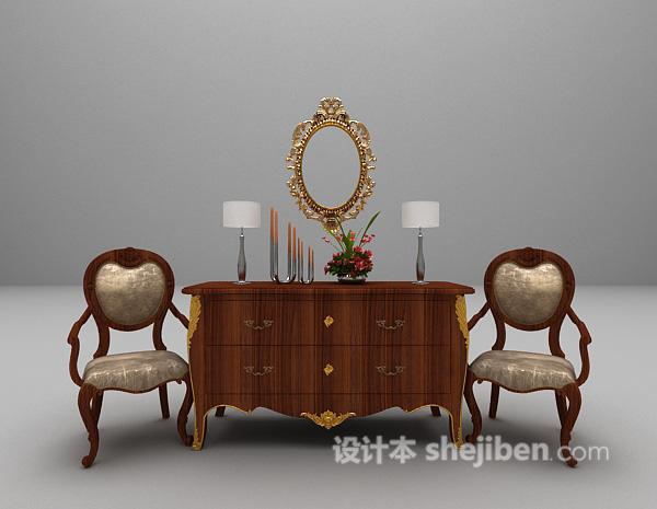 木质玄关厅柜3d模型下载