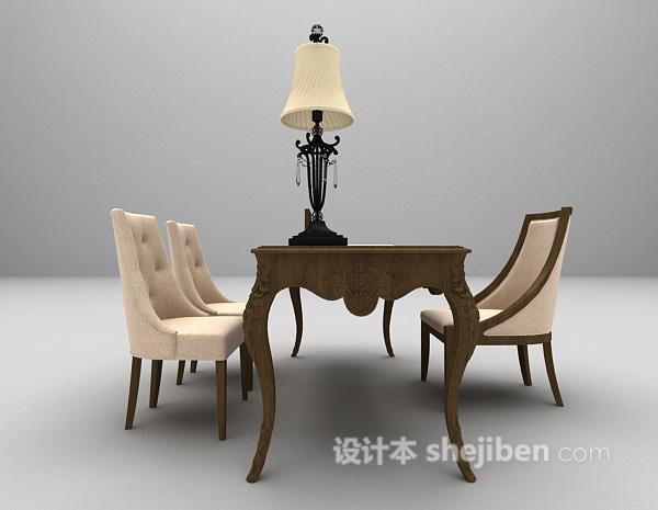 欧式办公桌椅组合3d模型下载