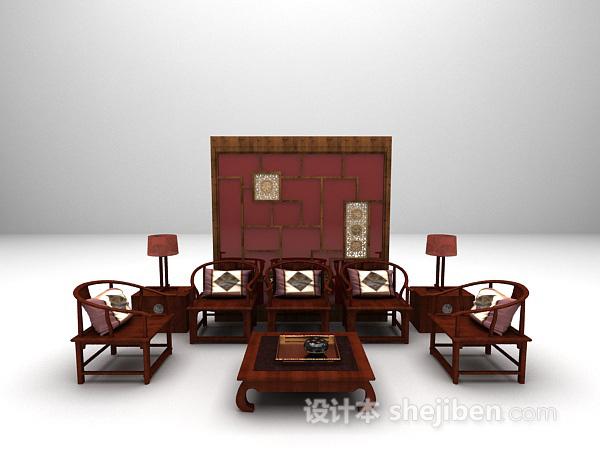 木质沙发3d模型欣赏