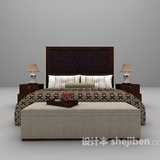 双人床具3d模型下载