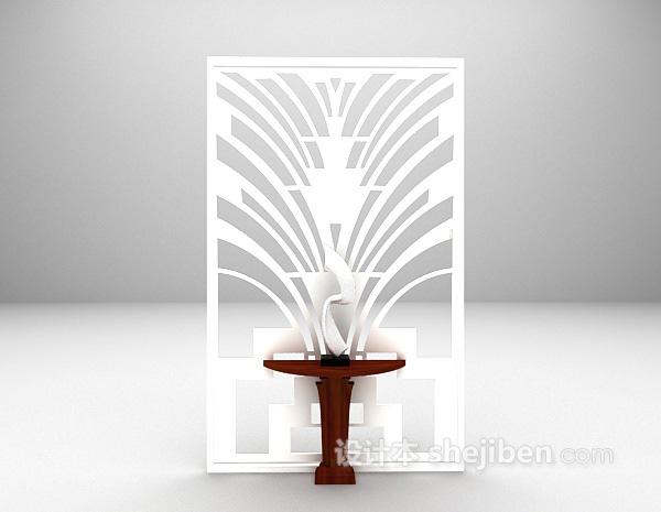 白色现代屏风装饰3d模型下载