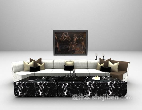 田园风多人沙发3d模型下载
