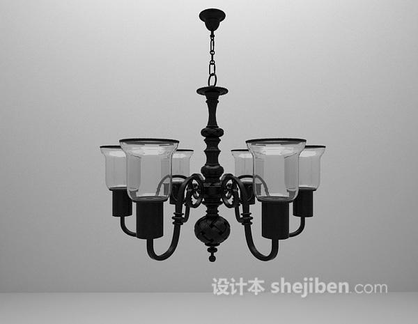 欧式复古吊灯3d模型下载