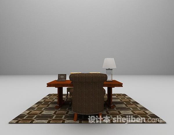 带地毯办公桌椅组合3d模型下载
