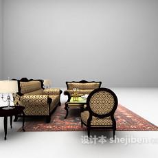 花格式沙发组合3d模型下载
