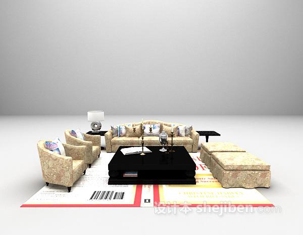 东南亚风格组合沙发3d模型下载