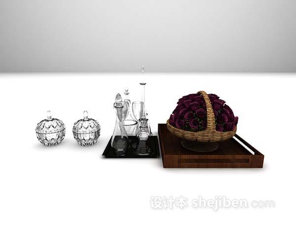 欧式酒具花艺摆件模型