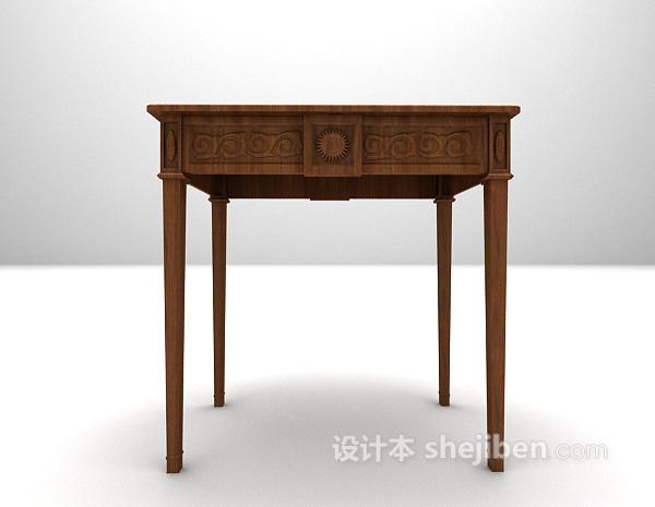 中式木质玄关边几3d模型免费下载