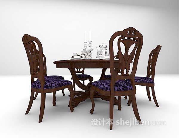 欧式黑色餐桌3d模型