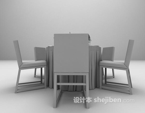 宴会圆形餐桌3d模型下载