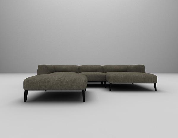 现代布艺沙发组合3d模型下载