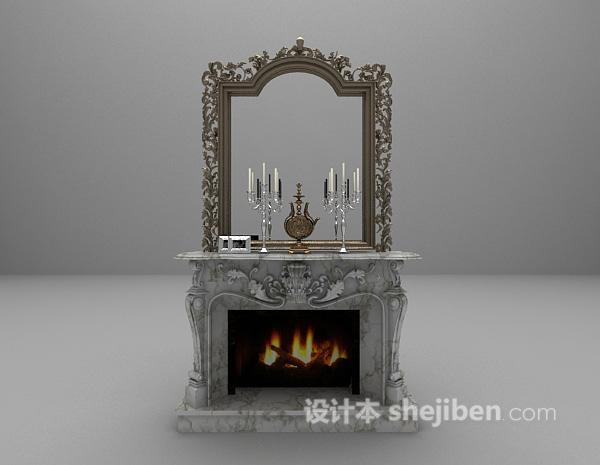 欧式白色大理石壁炉3d模型下载