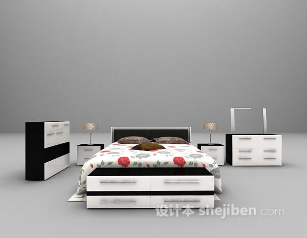 欧式简洁风格床具3d模型下载