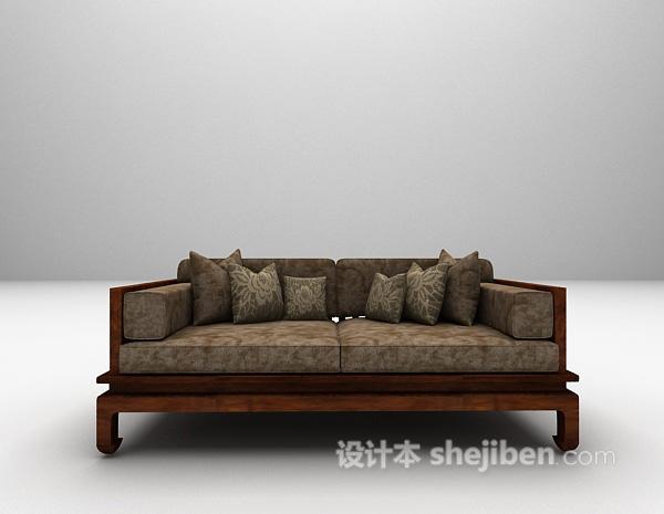 中式双人沙发3d模型下载