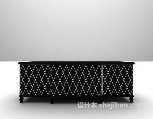 黑色玄关柜3d模型下载