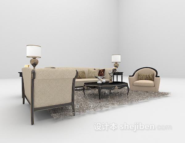 欧式灰色组合沙发3d模型下载