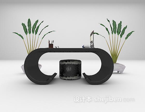 中式个性书桌3d模型下载