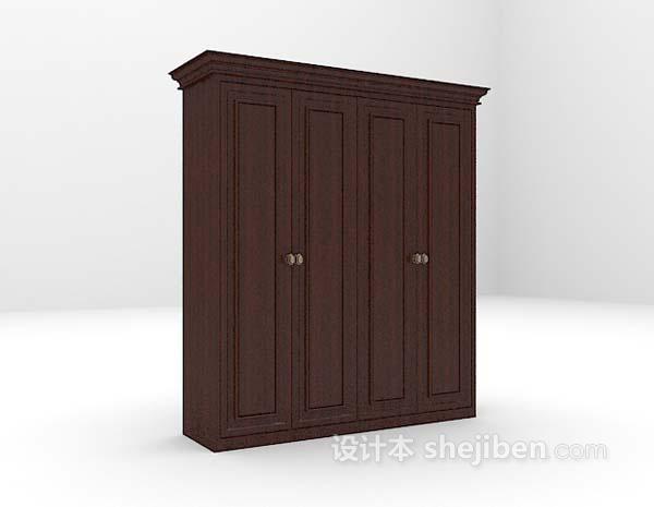 黑色衣柜3d模型