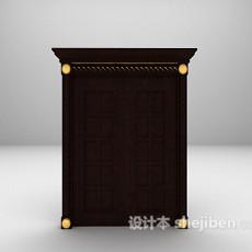 欧式黑色门3d模型下载