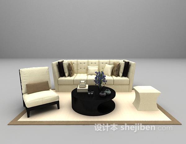 浅色欧式沙发3d模型下载