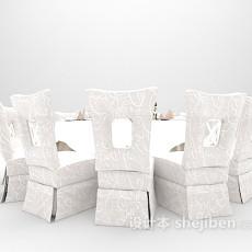 白色圆桌3d模型下载