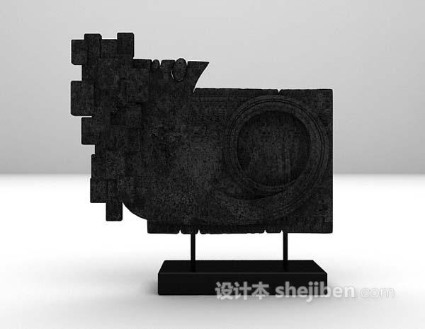 黑色雕塑品3d模型下载